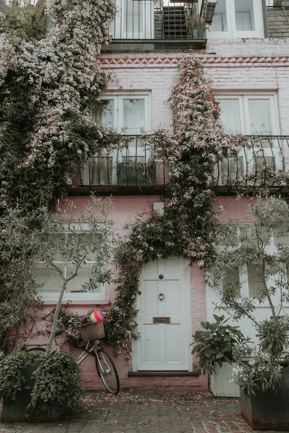 pink and white painted house covered with plants and flowers