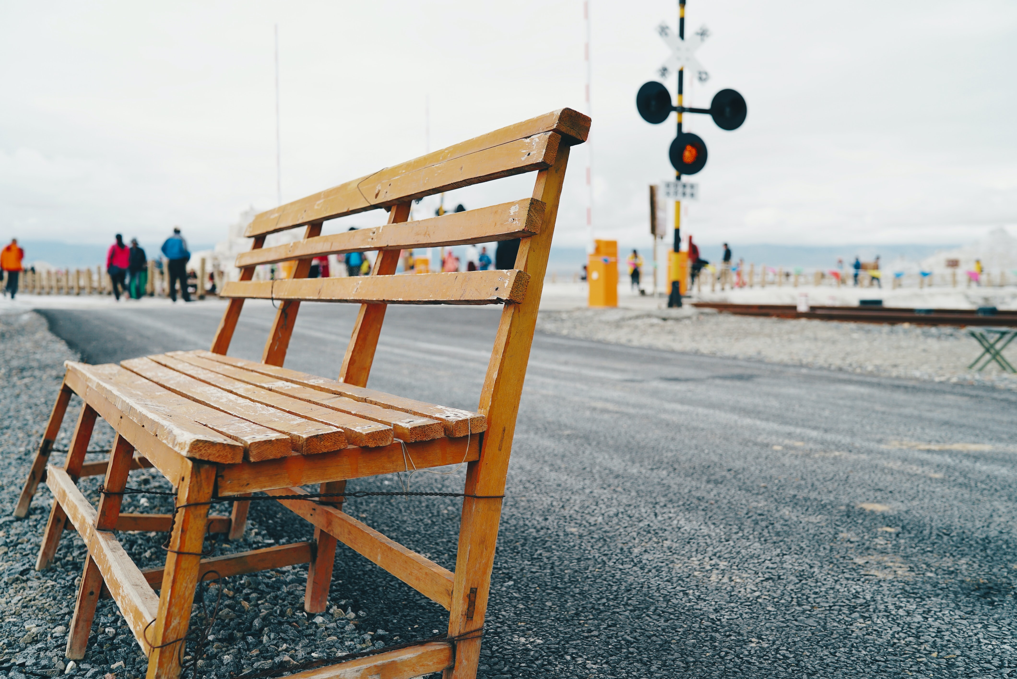 selective focus photography of brown wooden bench beside asphalt road during daytime