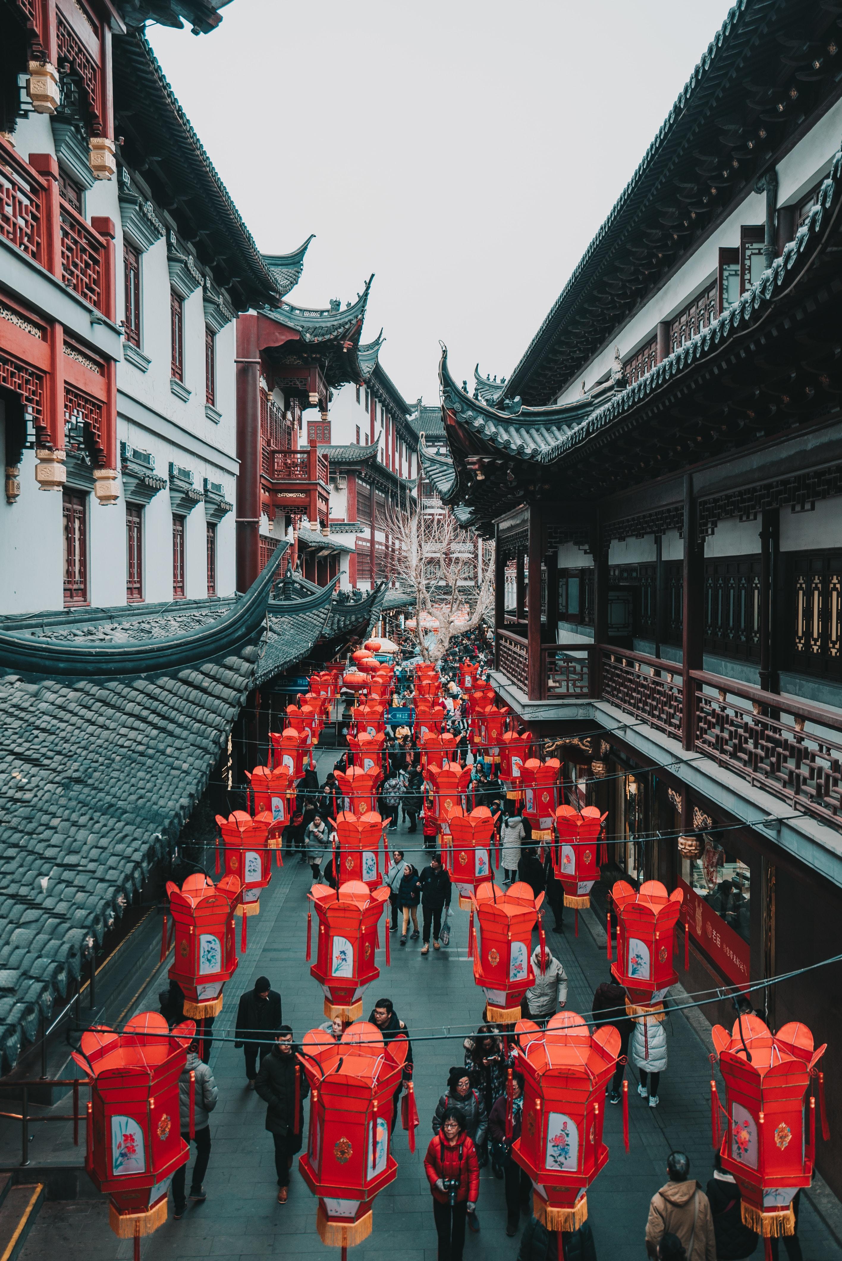 red paper lantern hanging