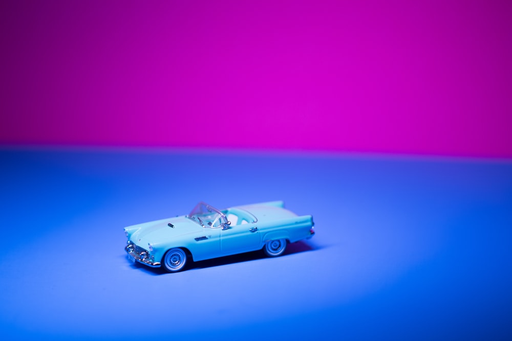 classic blue coupe scale model