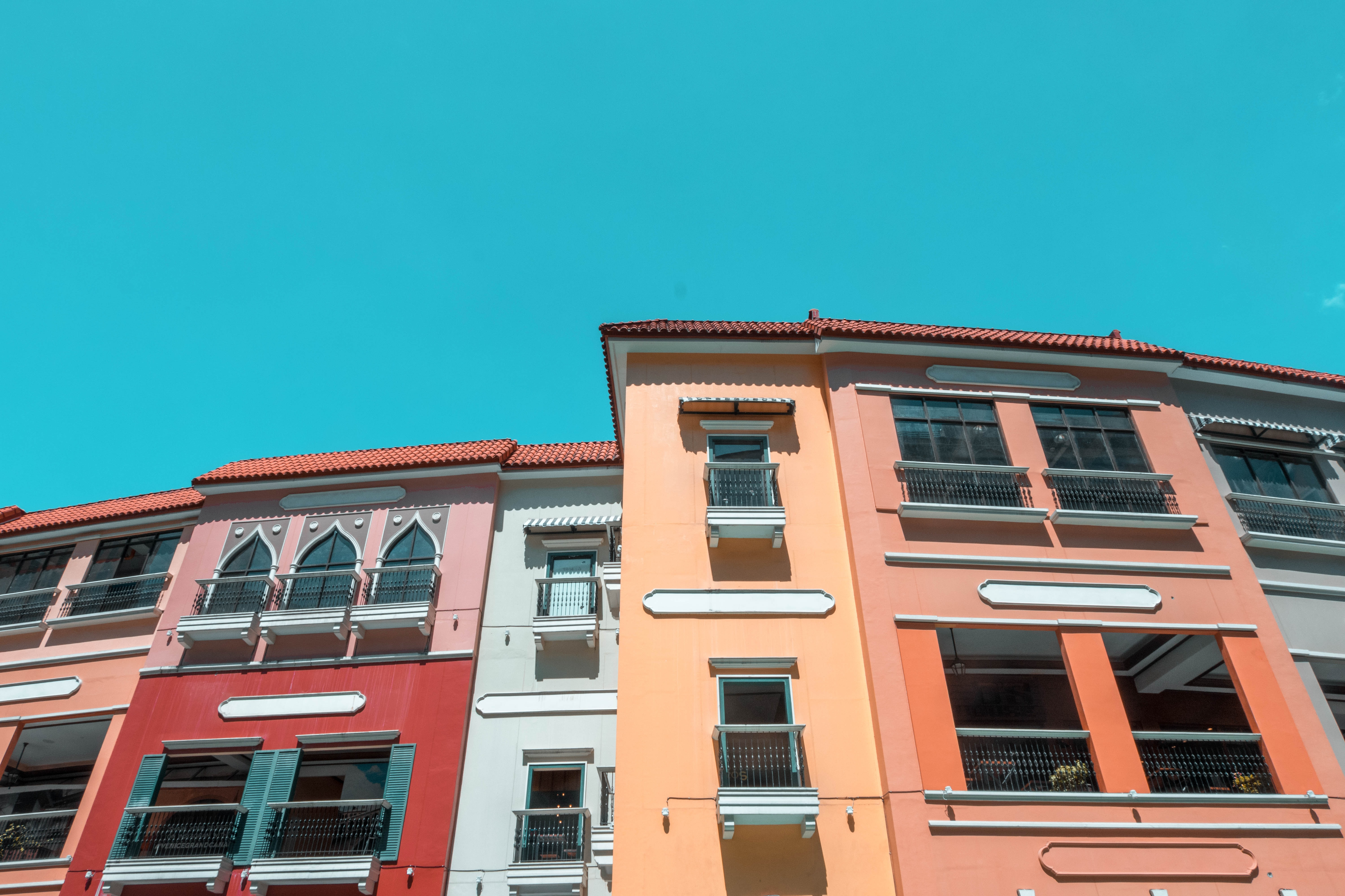 multicolored houses in worm's eye view