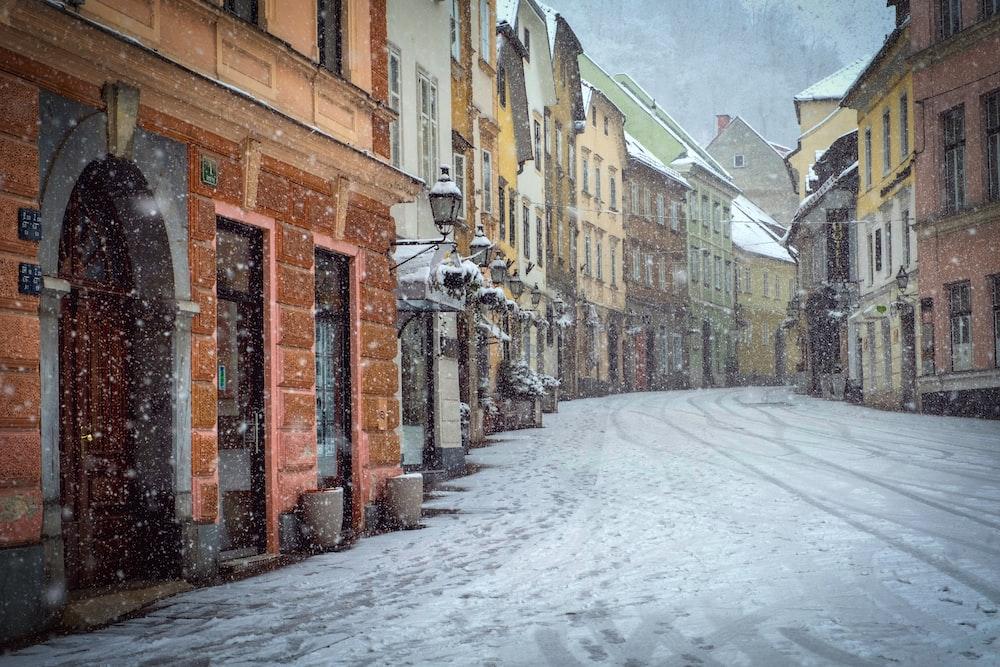 brown buildings at winter wallpaper