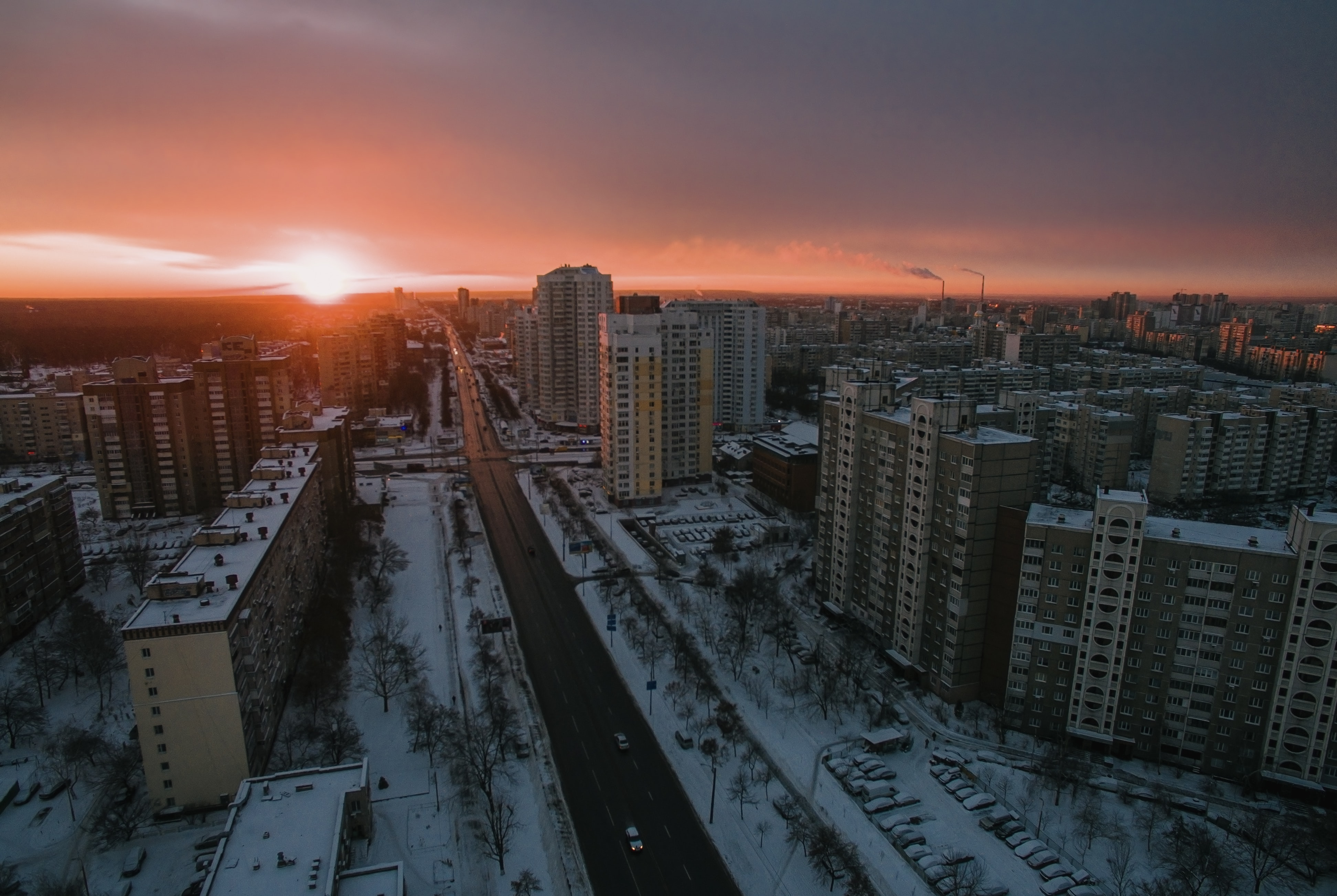 areal view of white city during sun set