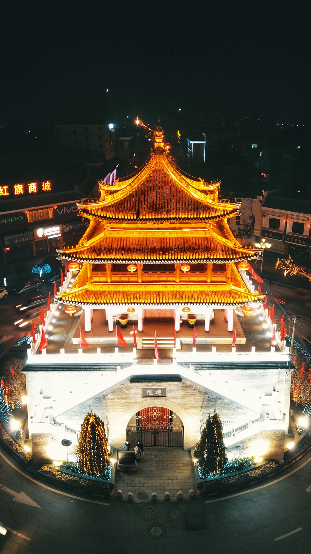 high-angle photography of yellow lighted structure