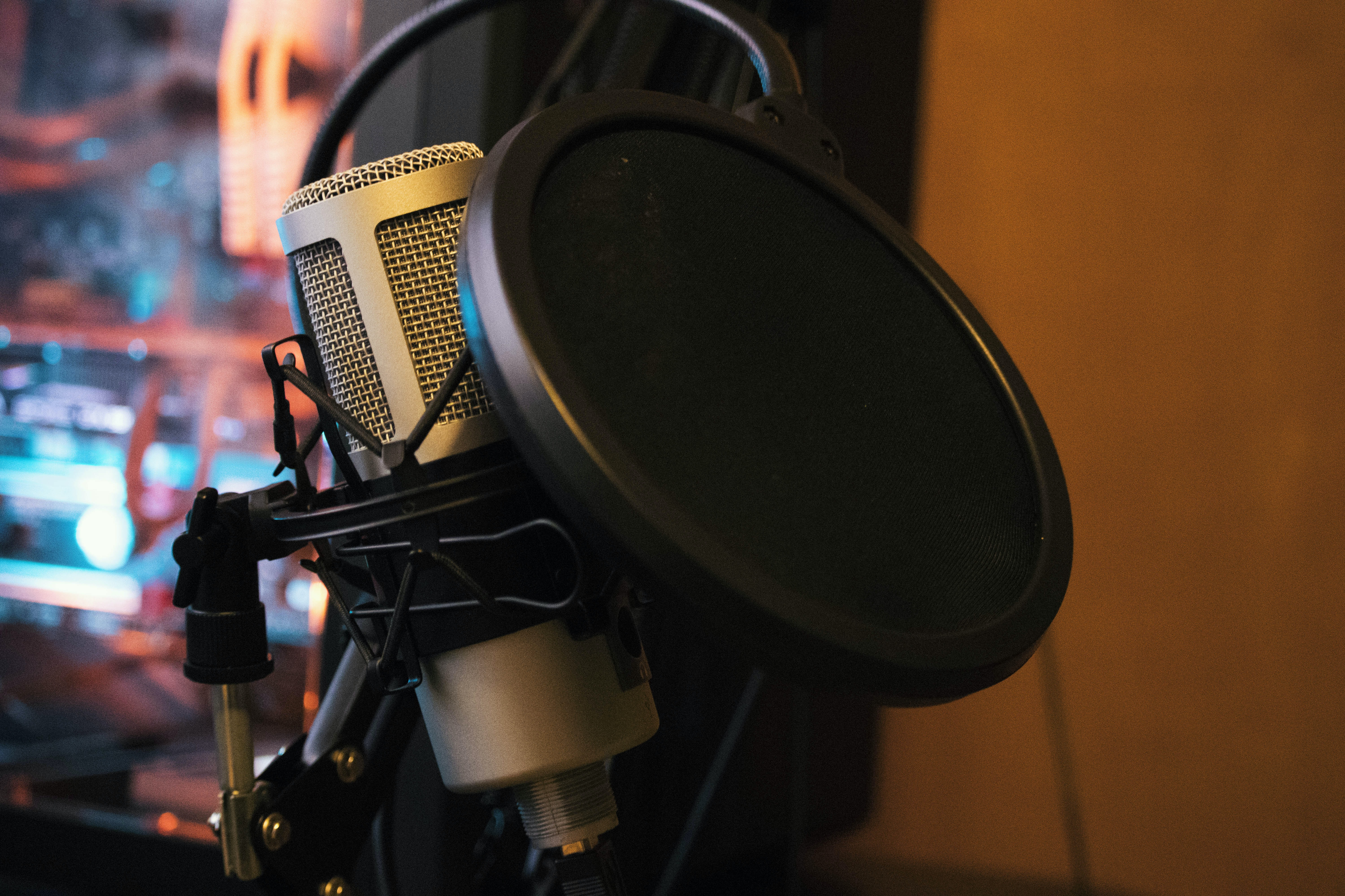 black and gray microphone condenser