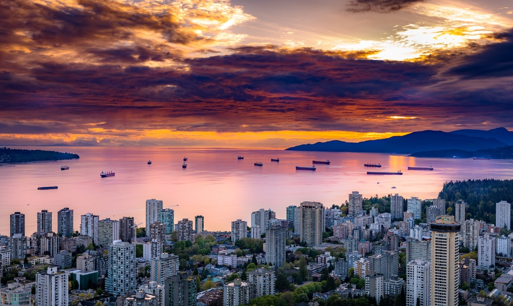 aerial photography of cityscape under brown sky