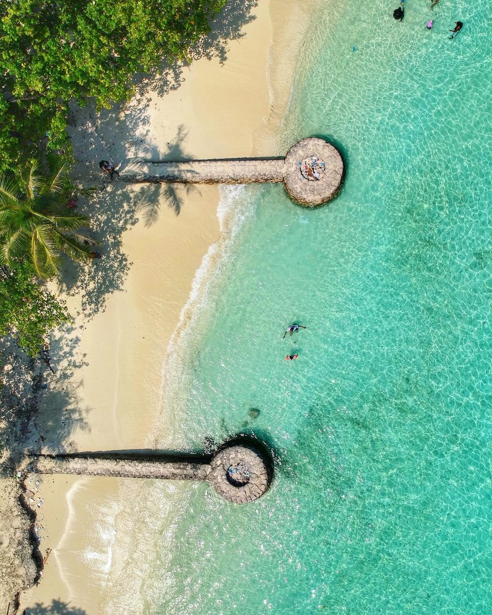 birds eye photography of island