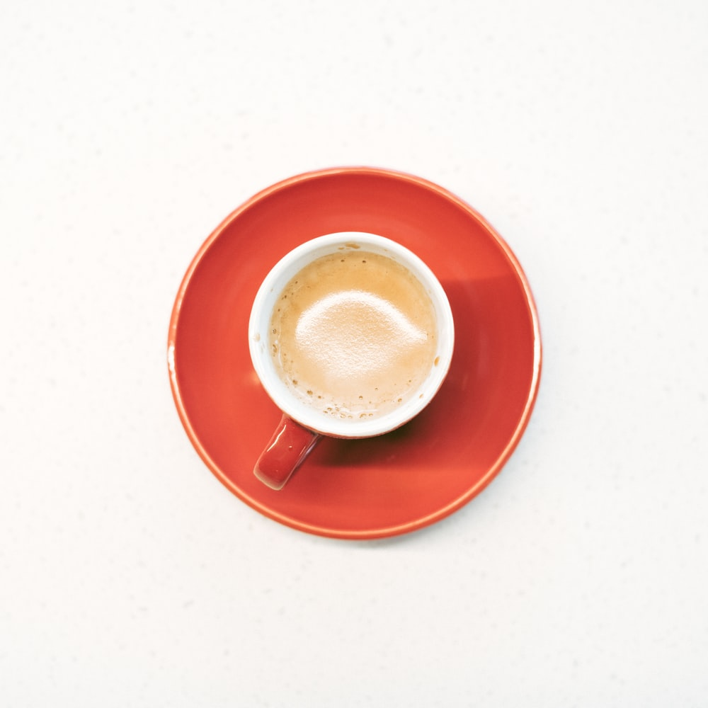 flat lay photography teacup on top of saucer