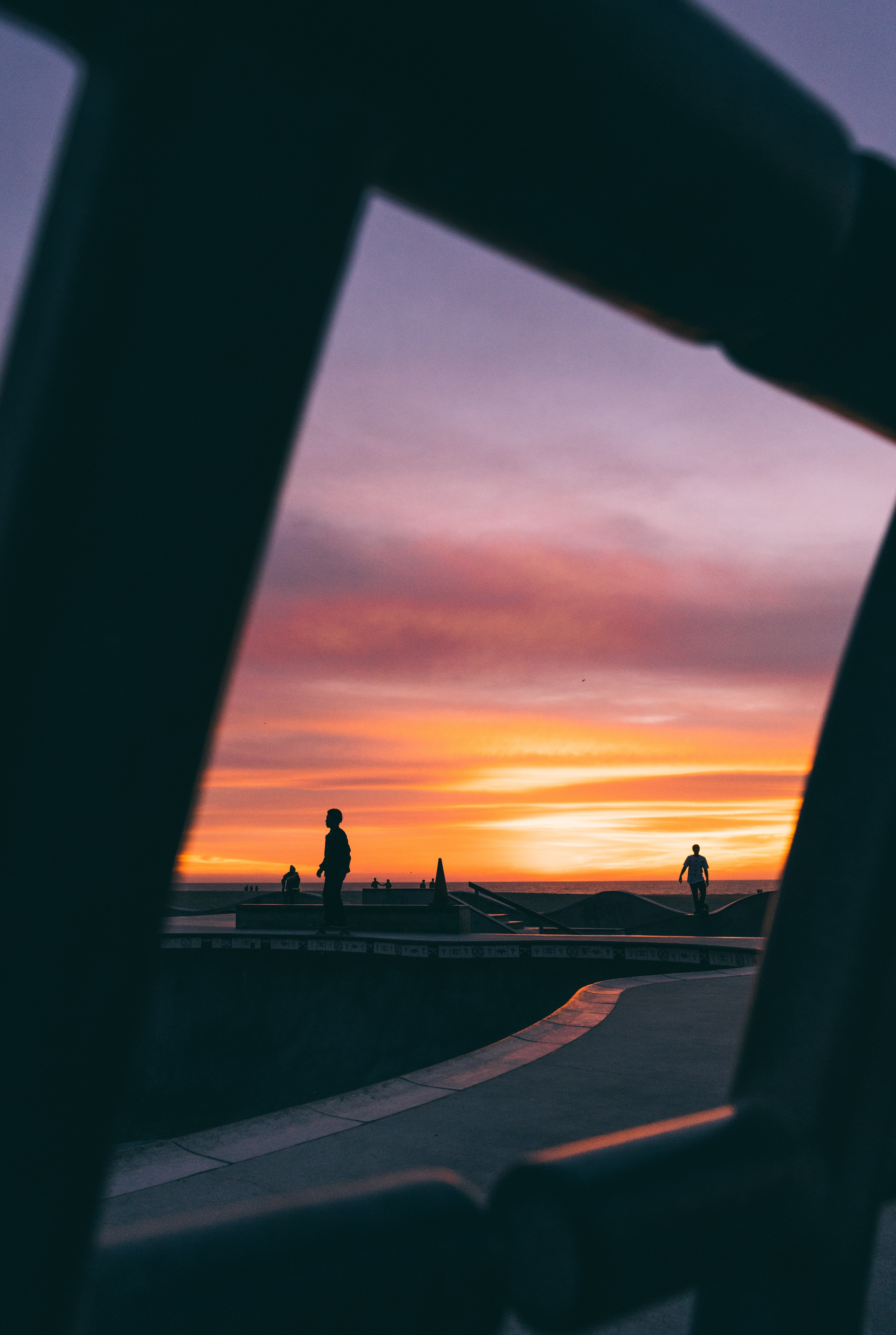 silhouette photography of people playing on skatepark