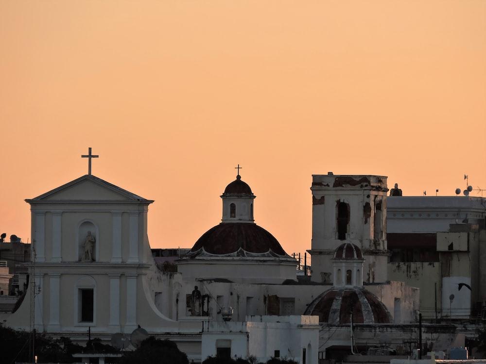 photo of white concrete church