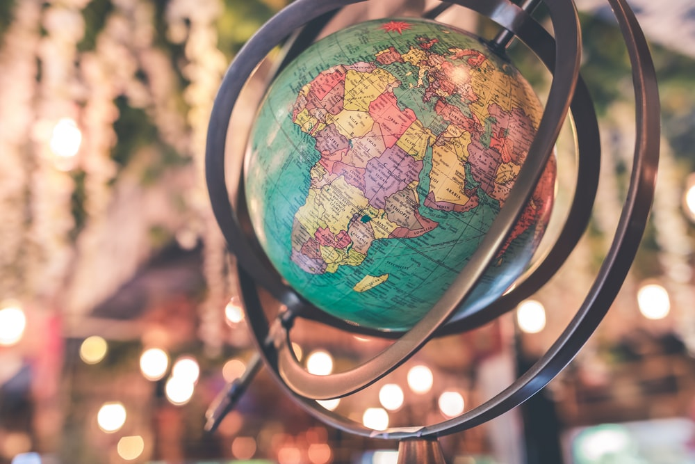 close-up photo of earth globe
