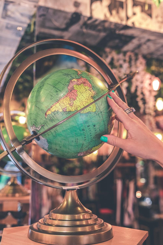 teal and green globe