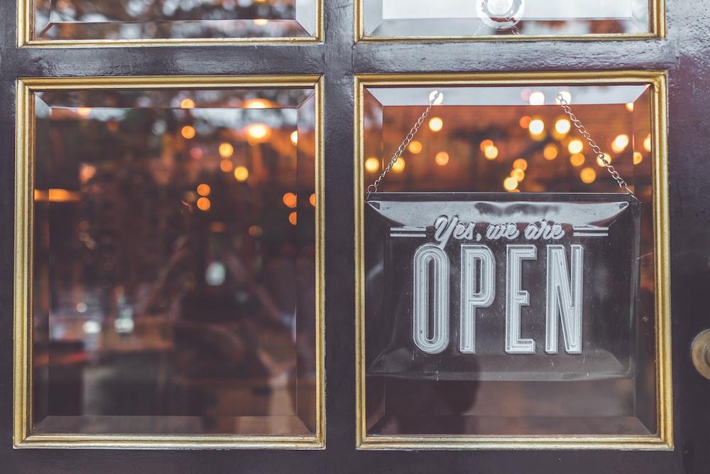 open signage on door