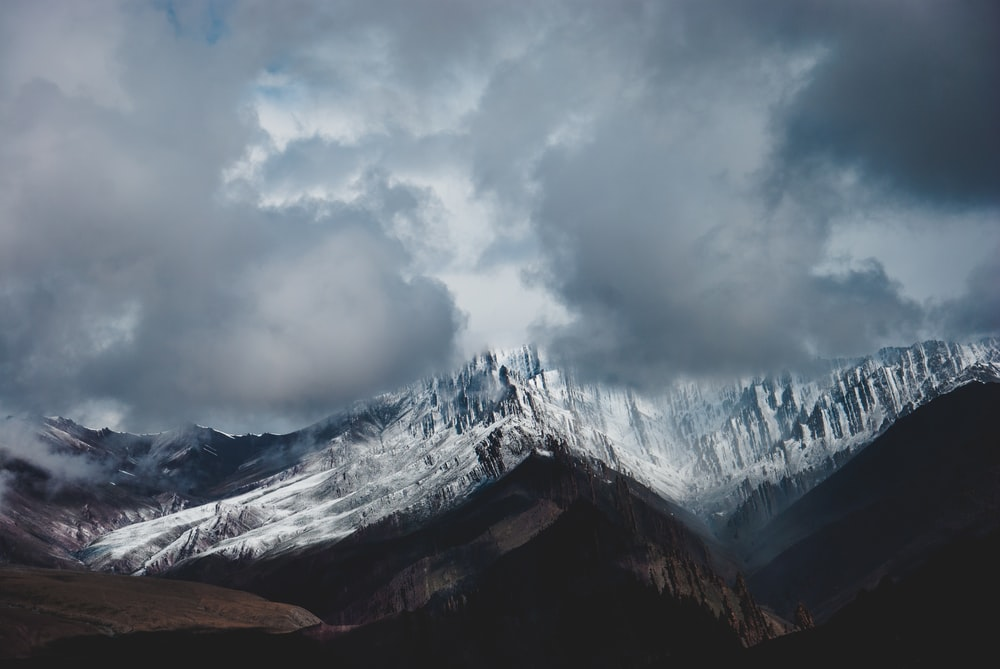 landscape photography of snow-covered mountain range