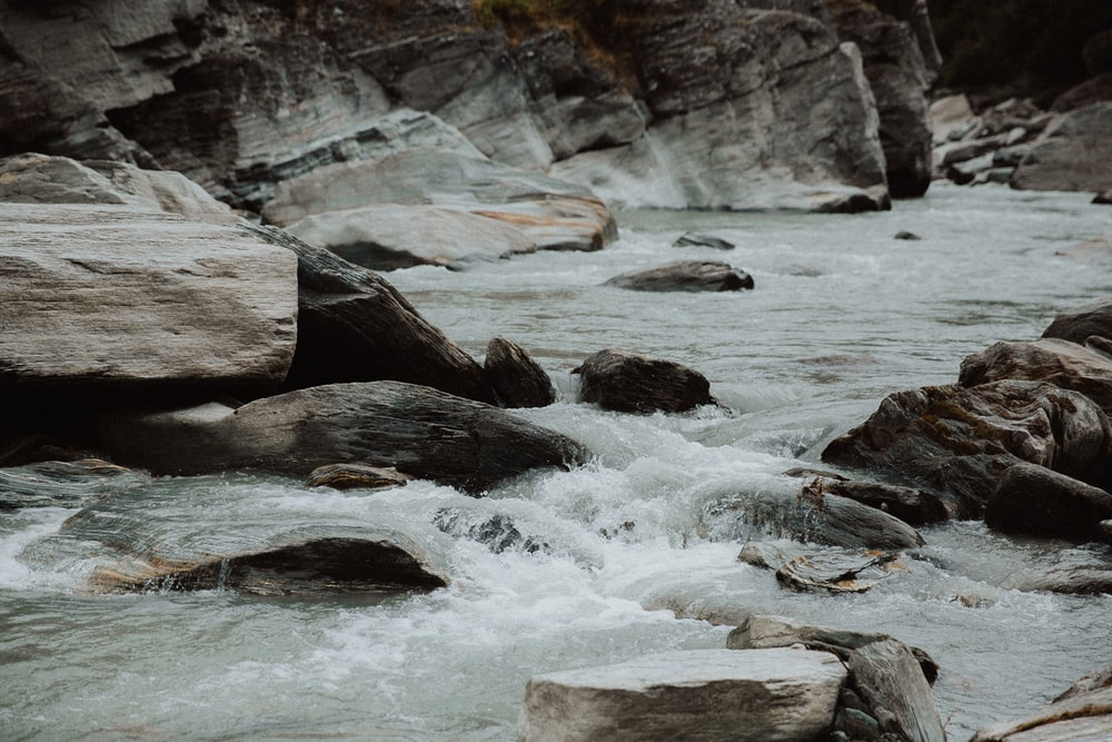 photography of water stream