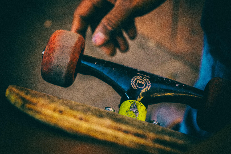 tilt-shift lens photography of skateboard