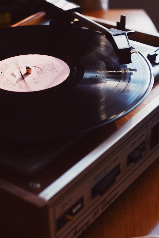 vinyl disc playing on vinyl record player