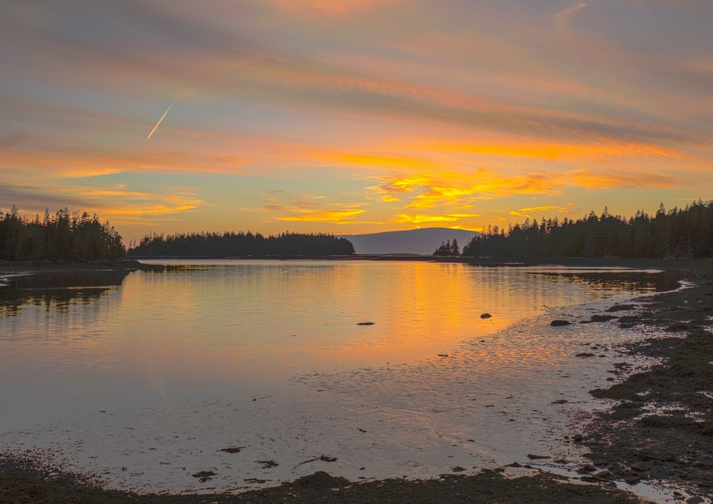 lake surrounded by pine trees under orange sky with shooting star