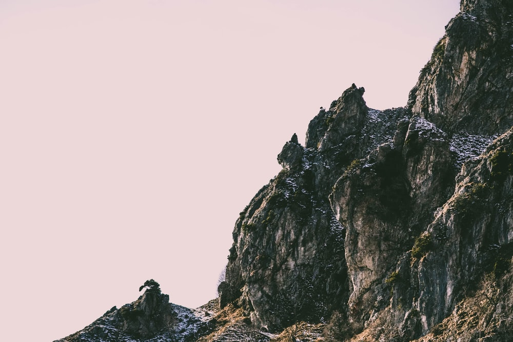 low angle photography of rock formation