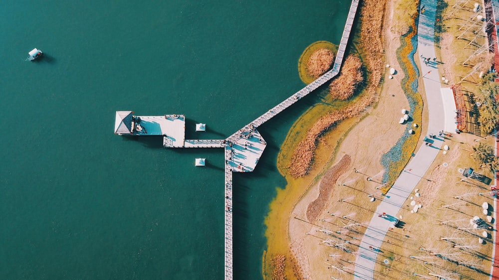 aerial photography of sea dock at day time