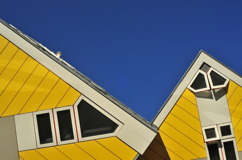 yellow and white house roof