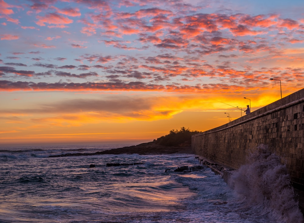seawall during golden hour