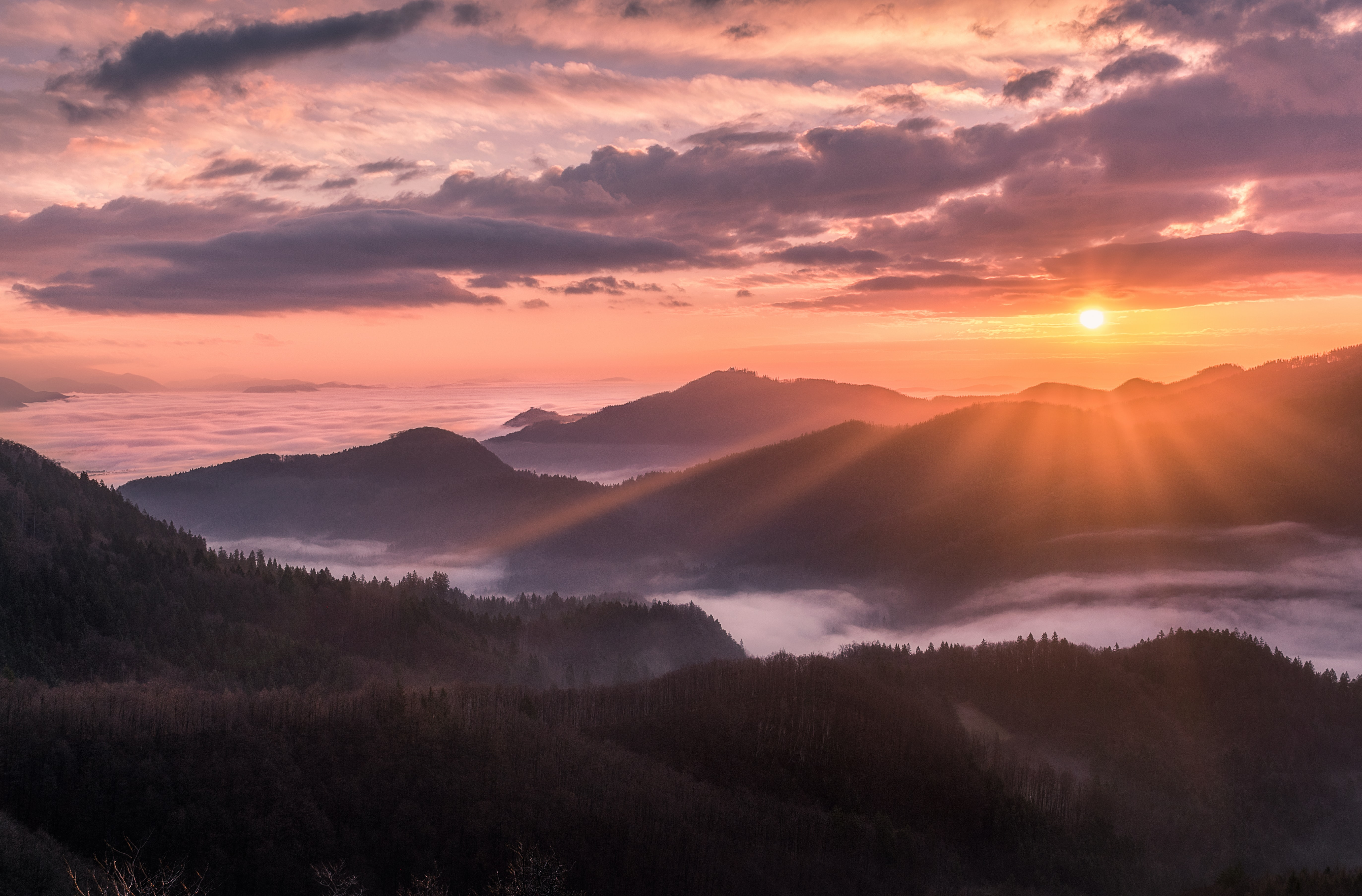 overlooking view of mountains and sunrise