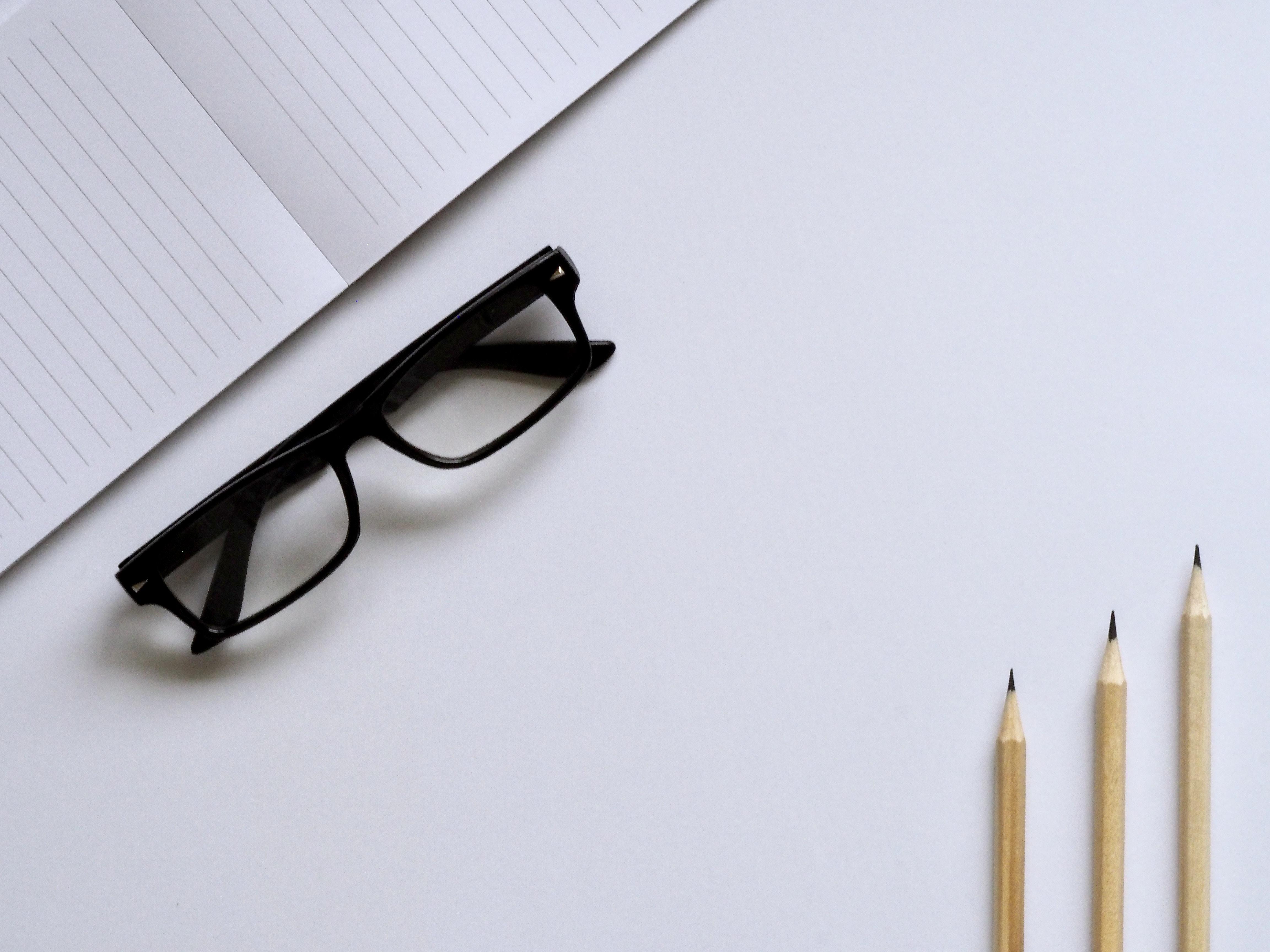 eyeglasses with black frames