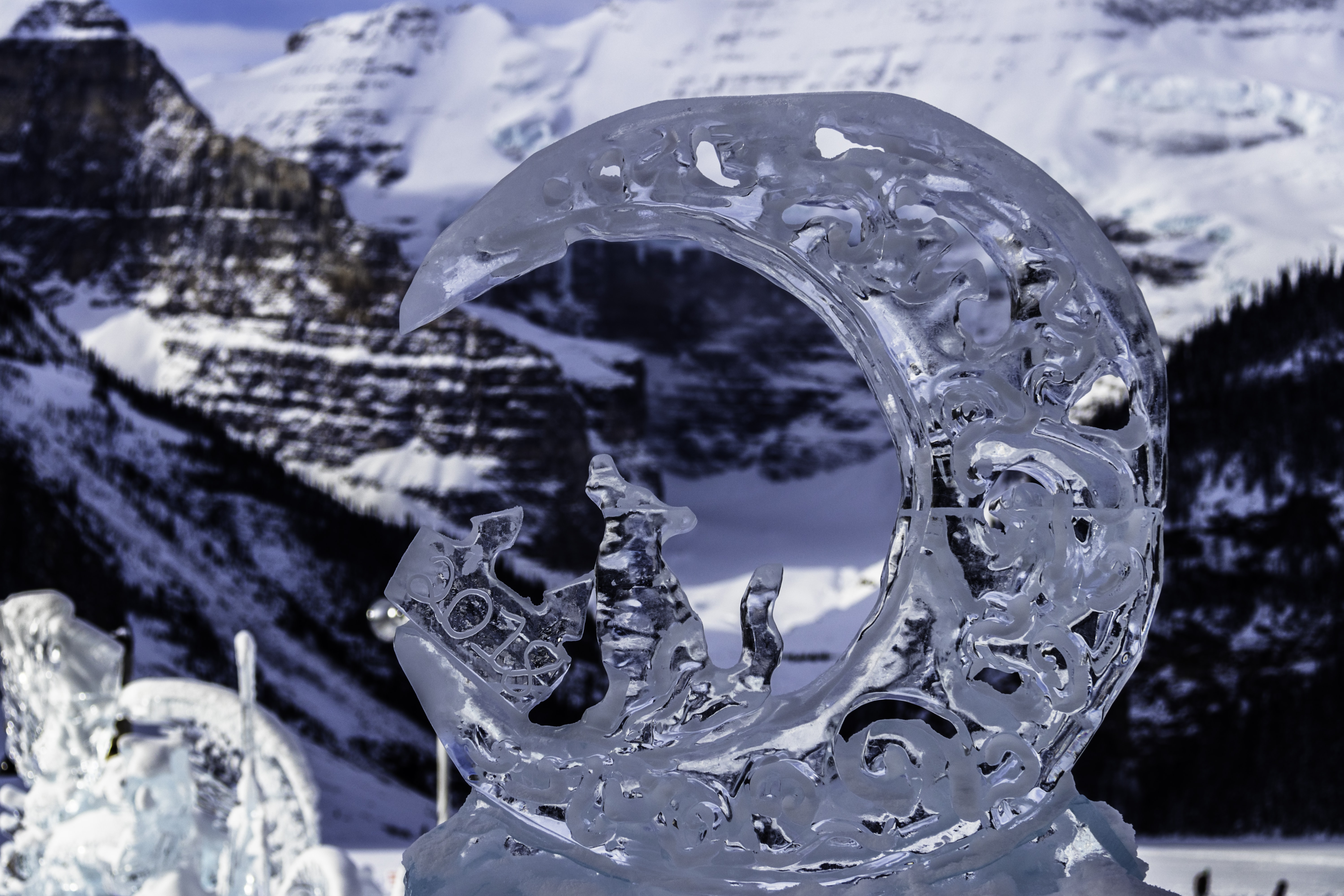 carved moon shape ice