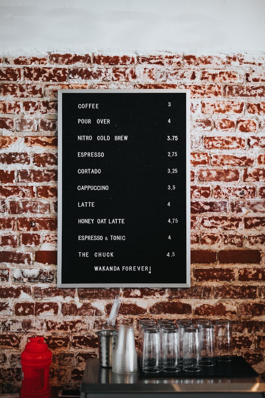 black and white menu board