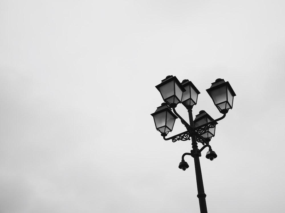 gray patio lamp