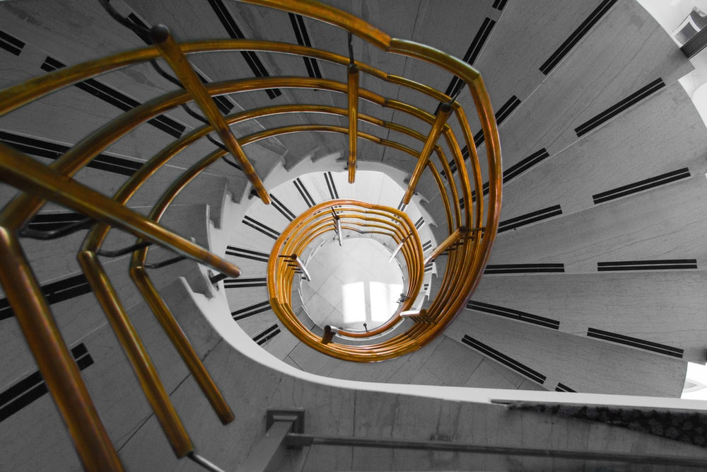 aerial view of spiral staircase
