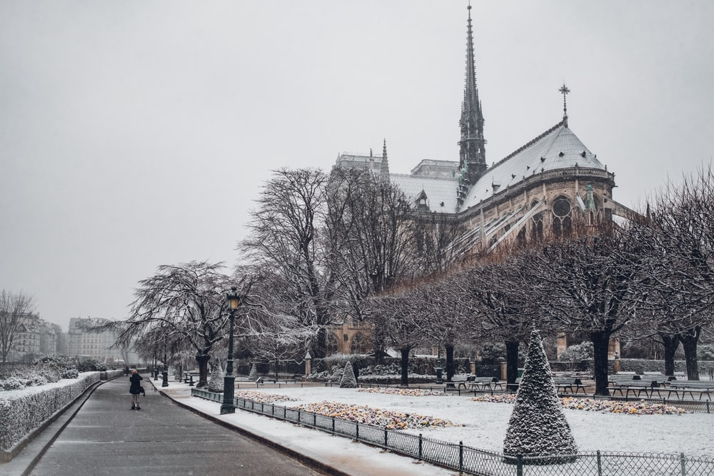 Gothic cathedral during winter