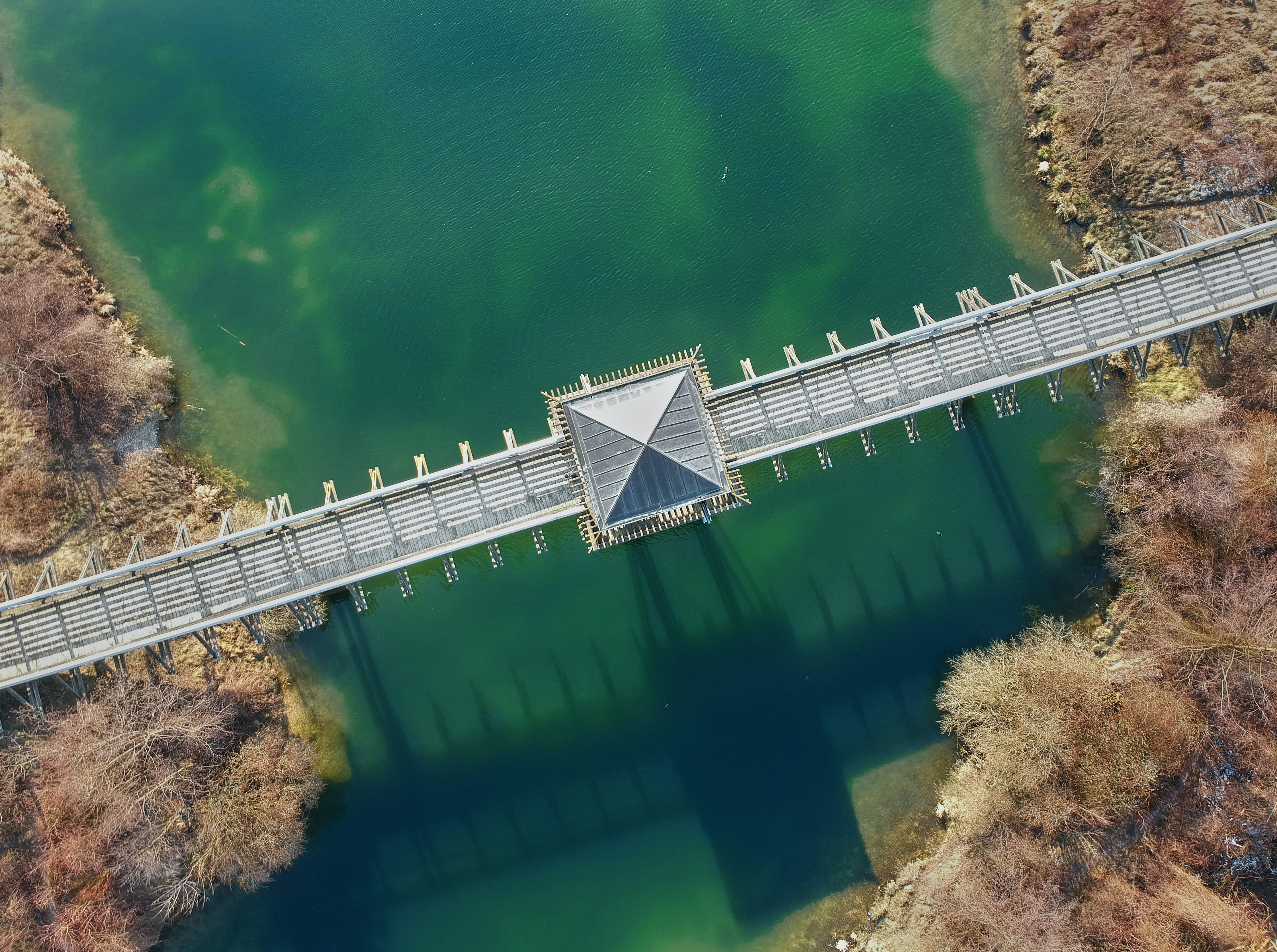 top angle photo of gray concrete bridge over green water taken at daytime