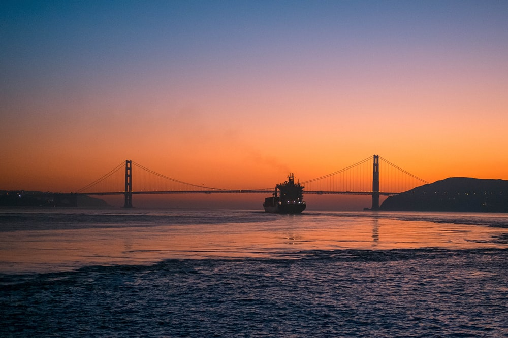golden state bridge during sunset