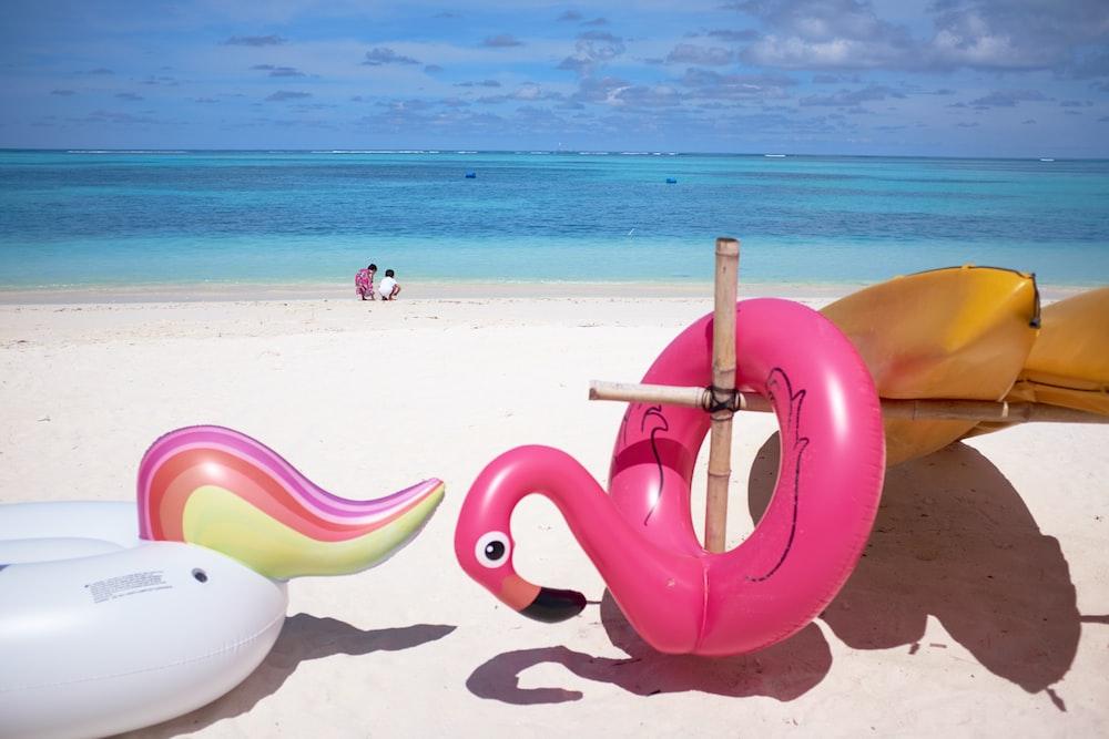 pink flamingo floater in front ocean