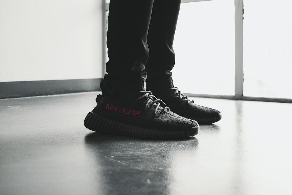 pair of black Adidas Yeezy Boost 350 V2