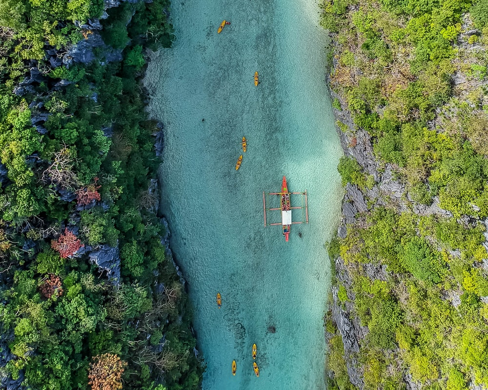 aerial view of boat on body of water between trees during daytime