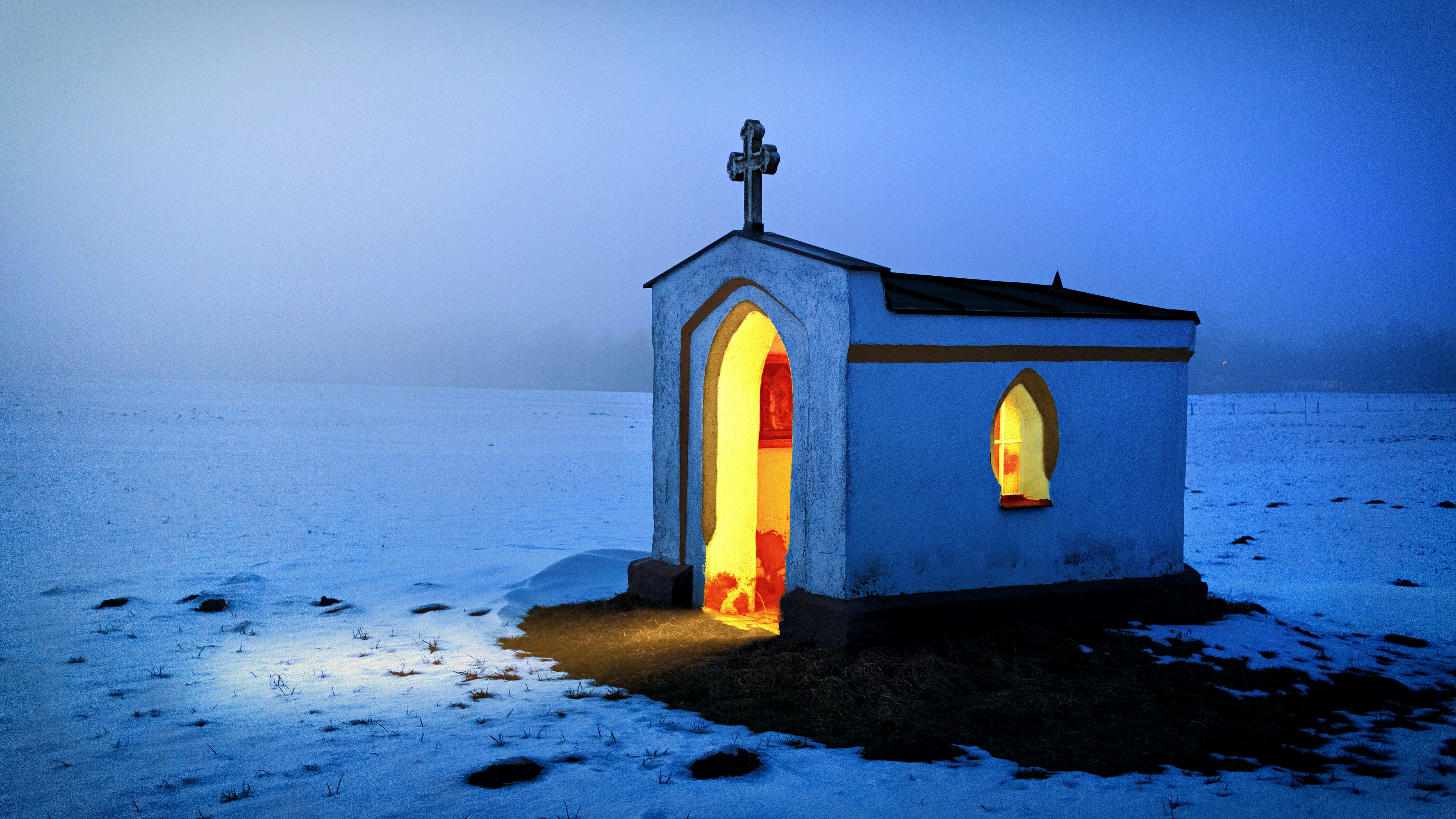 white and black concrete church during winter