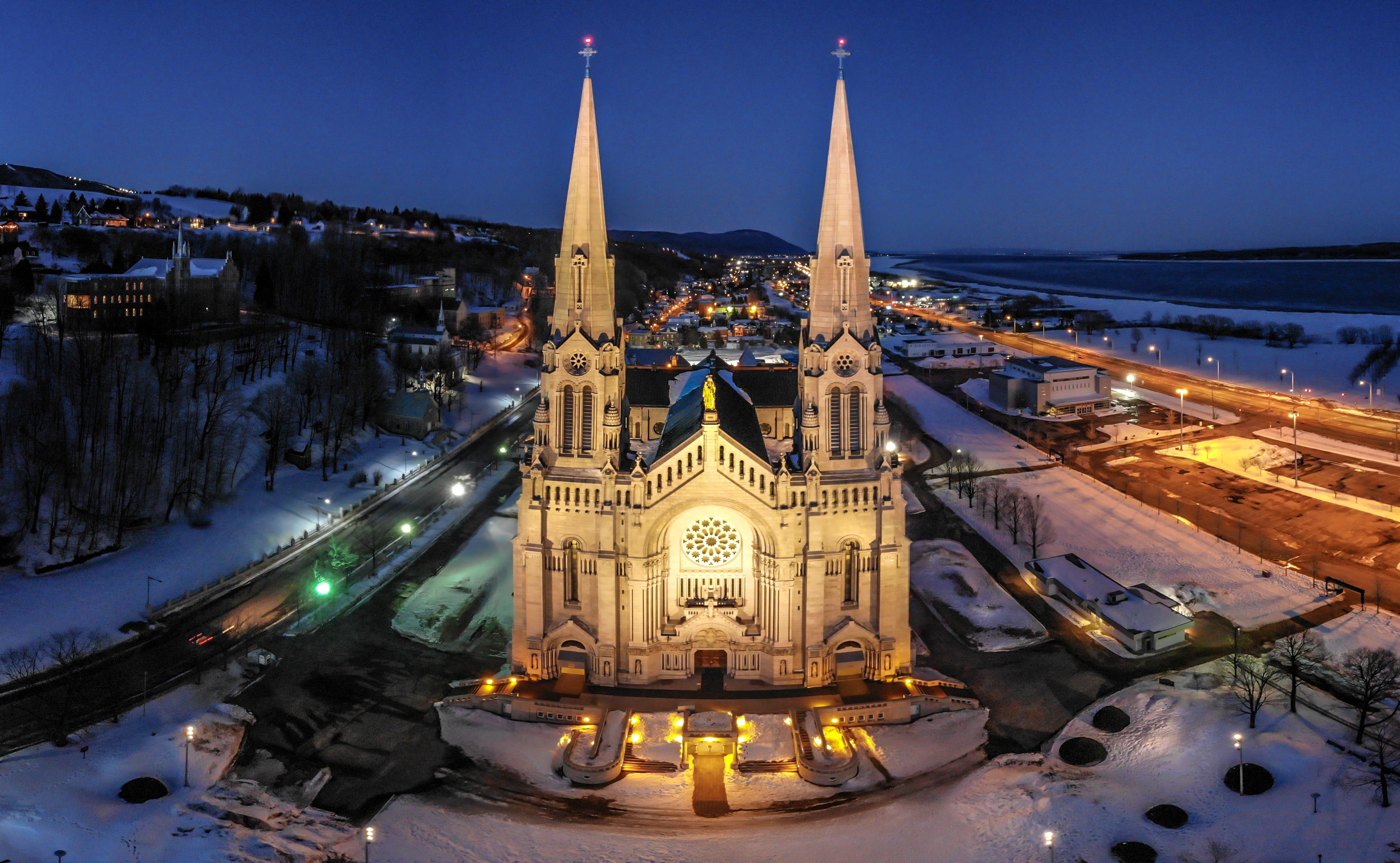aerial photography of cathedral during blue hour