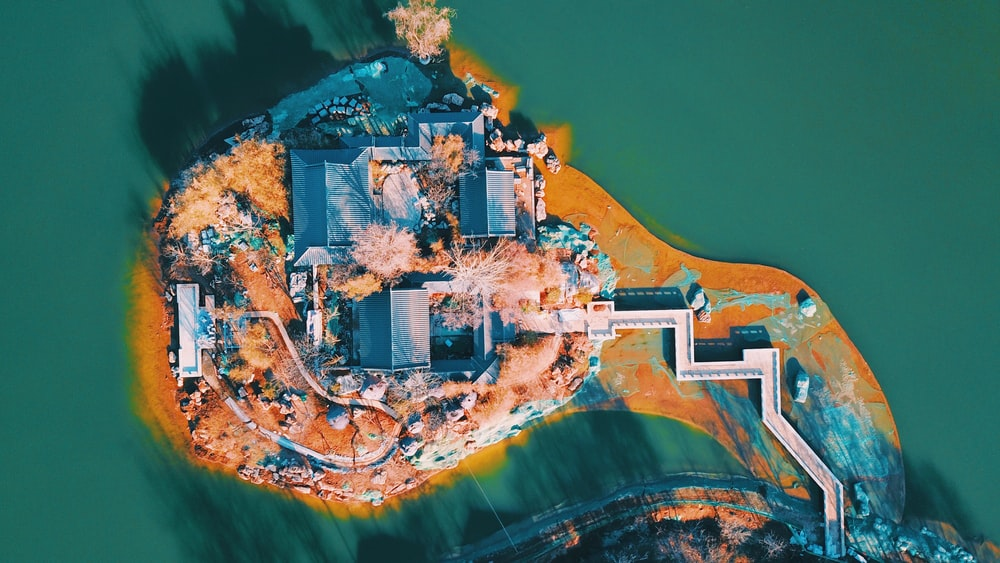 birds eye photography house mansion surrounded by body of water