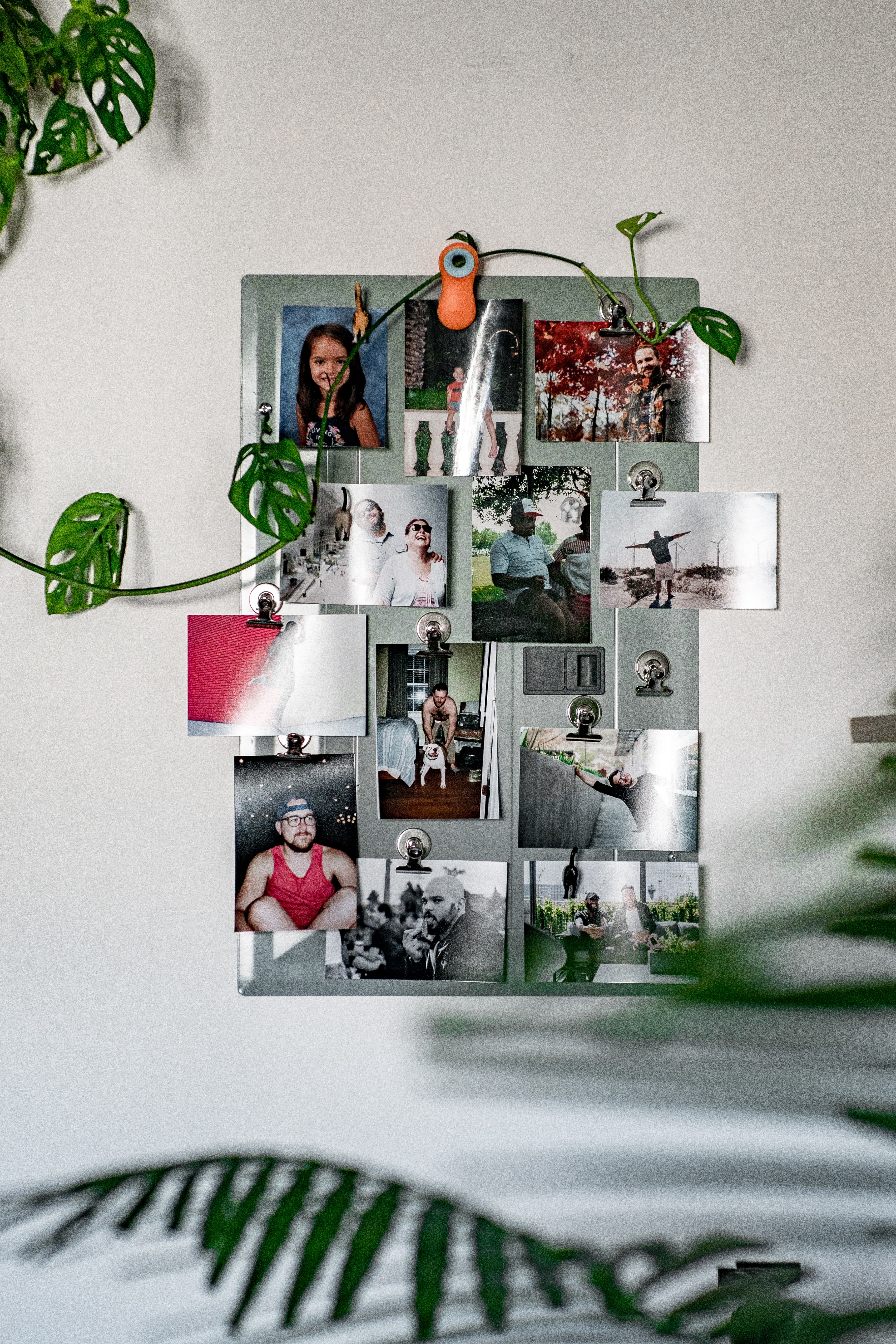 collage photos on metal clipboard