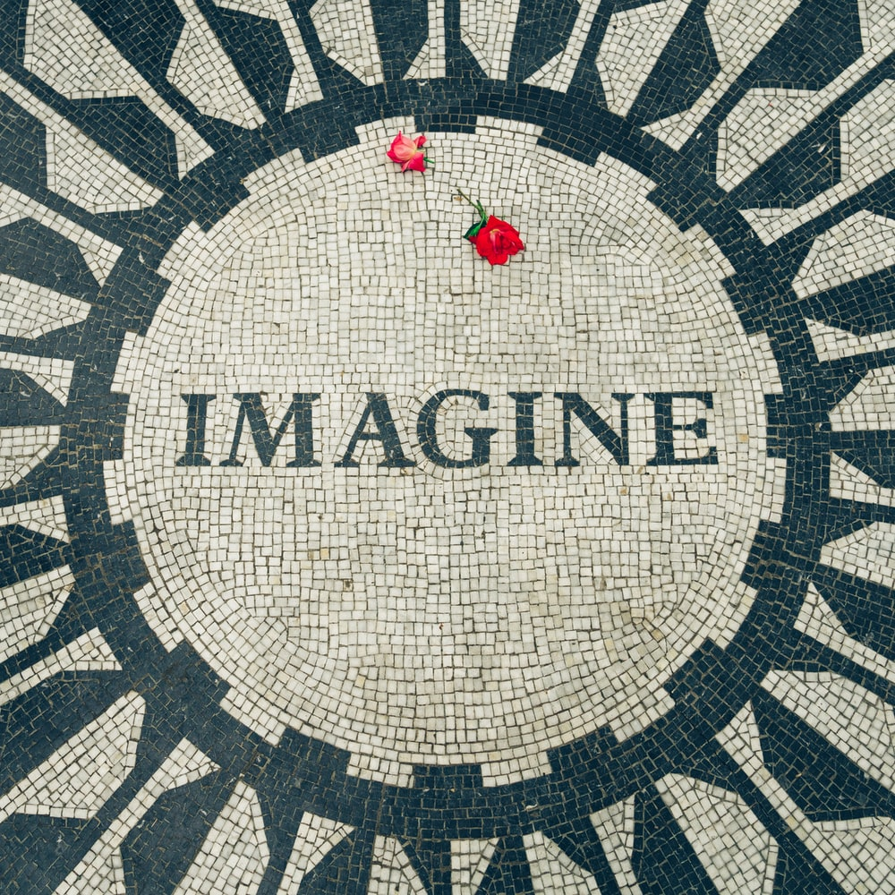 red rose on Imagine text with
