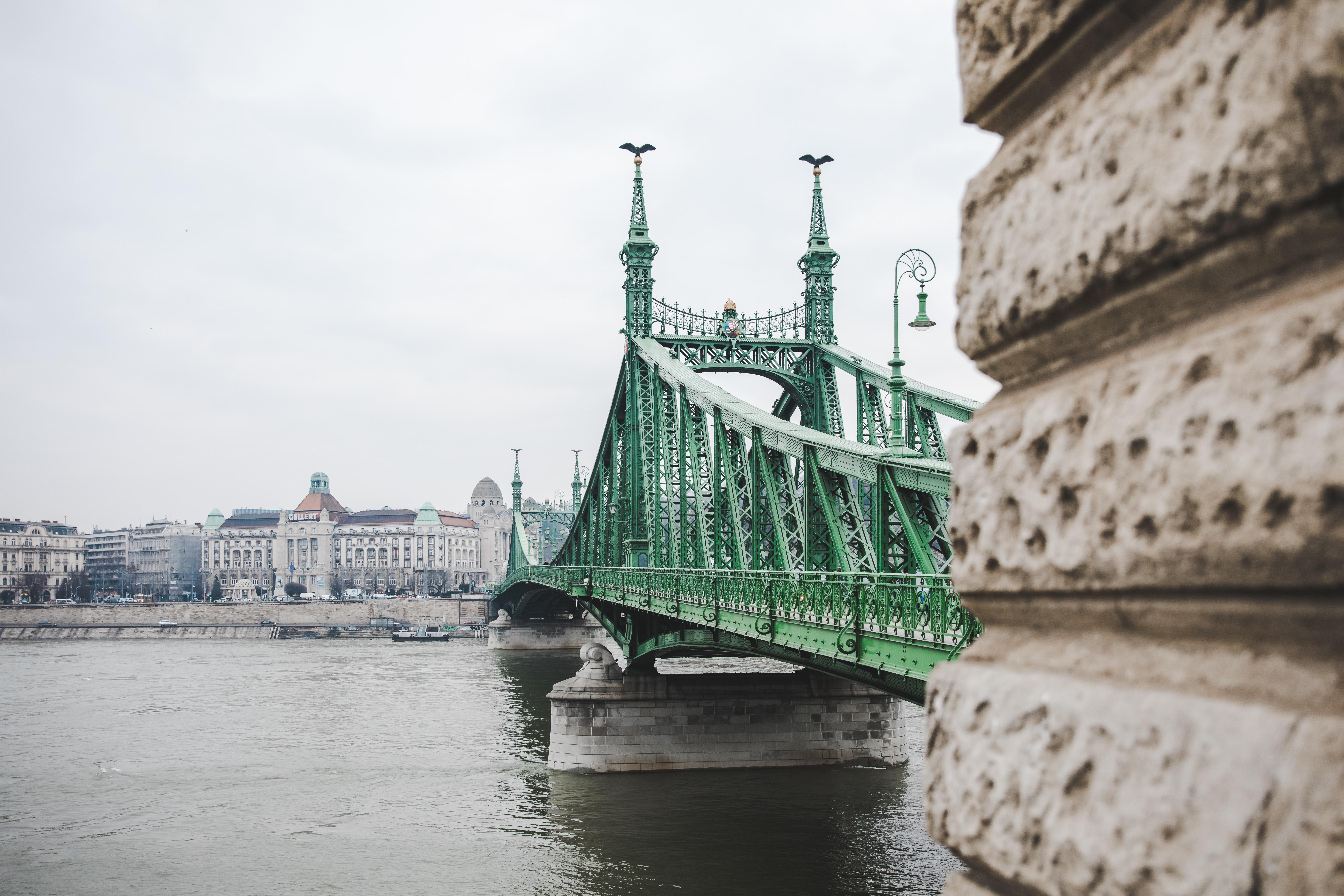 green metal bridge