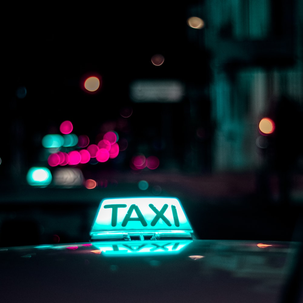 lighting white Taxi signage