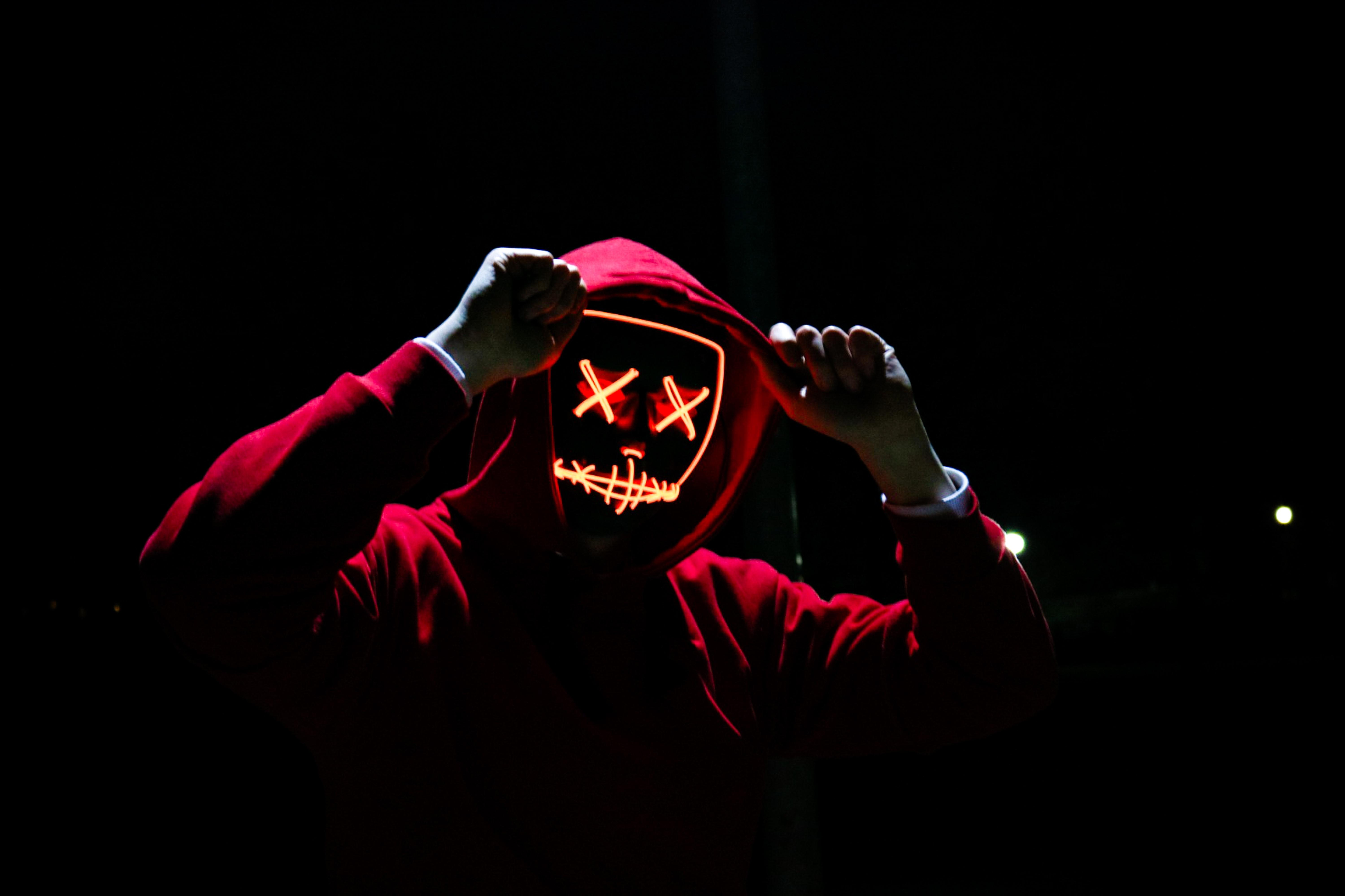 man wearing red hoodie