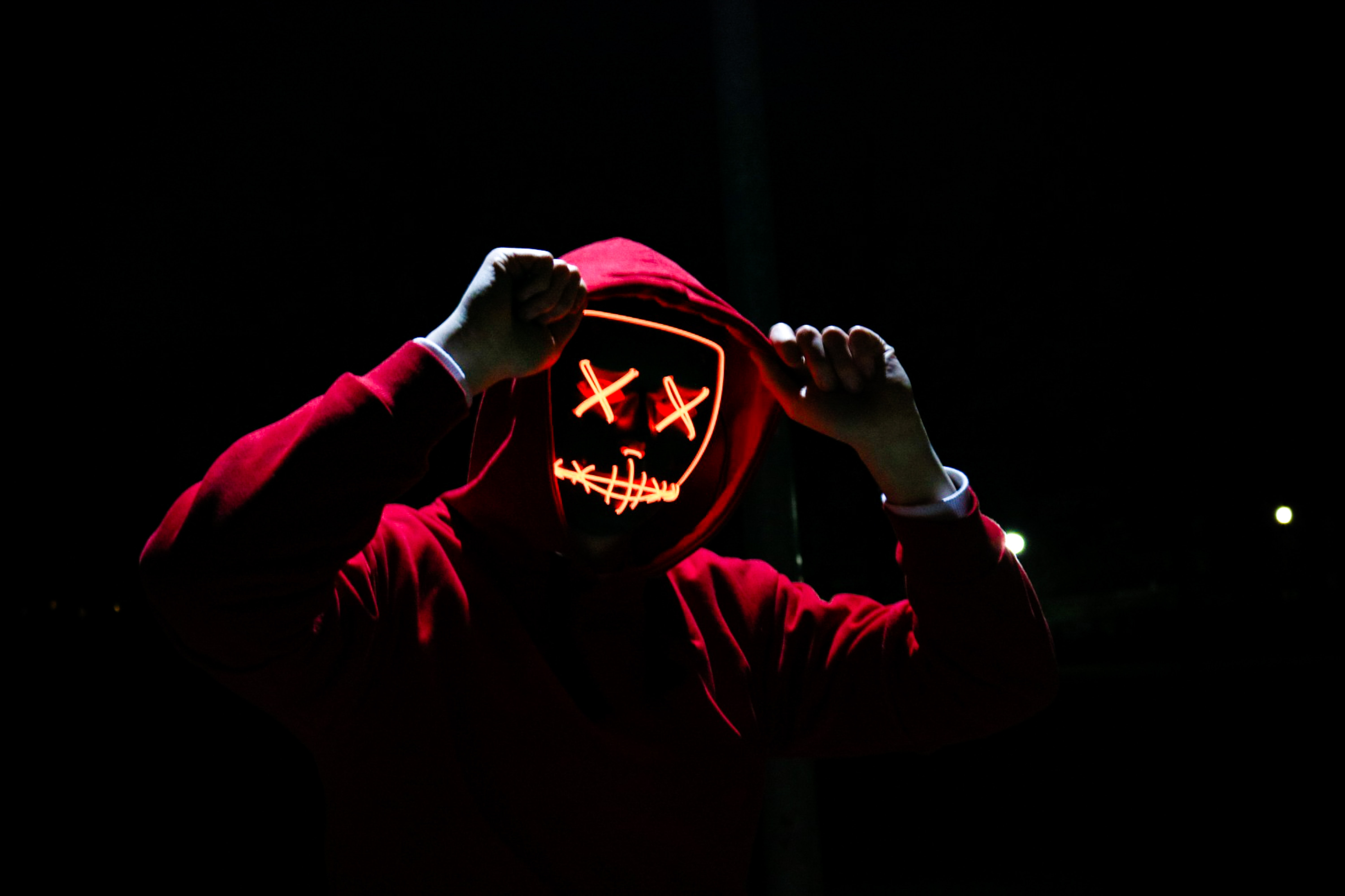 man wearing red hoodie