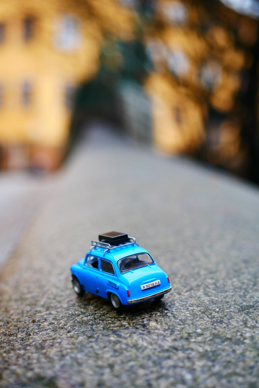 selective focus of car on road