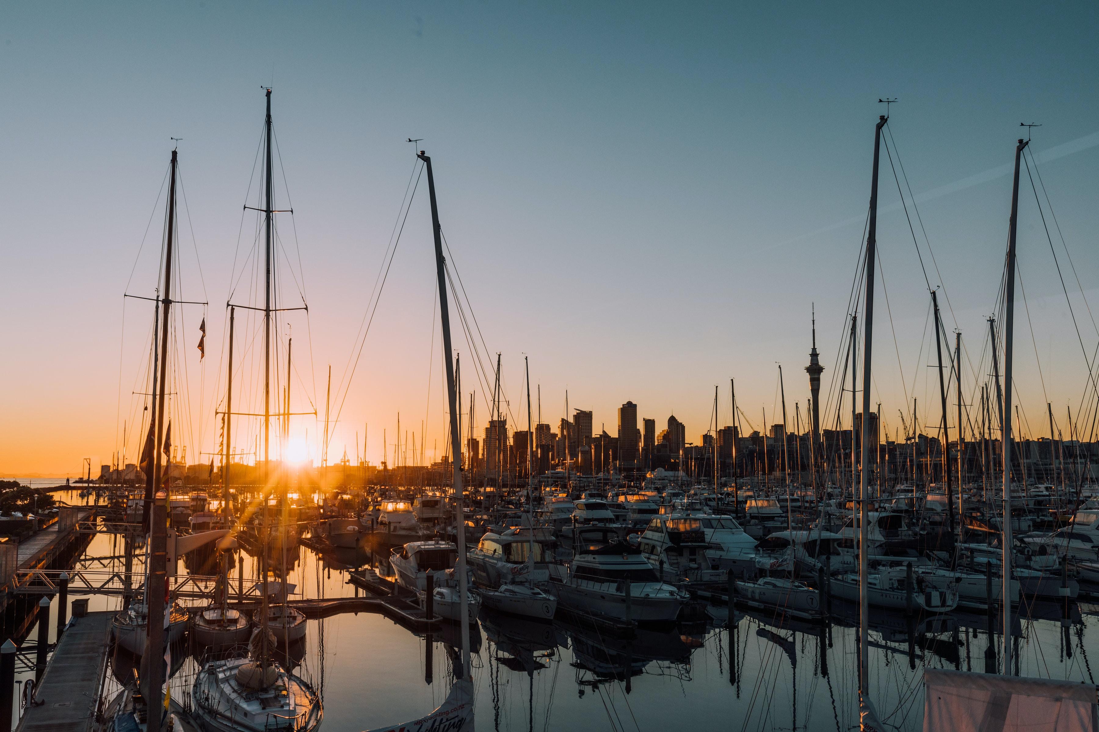 dock boats on the port during sundown