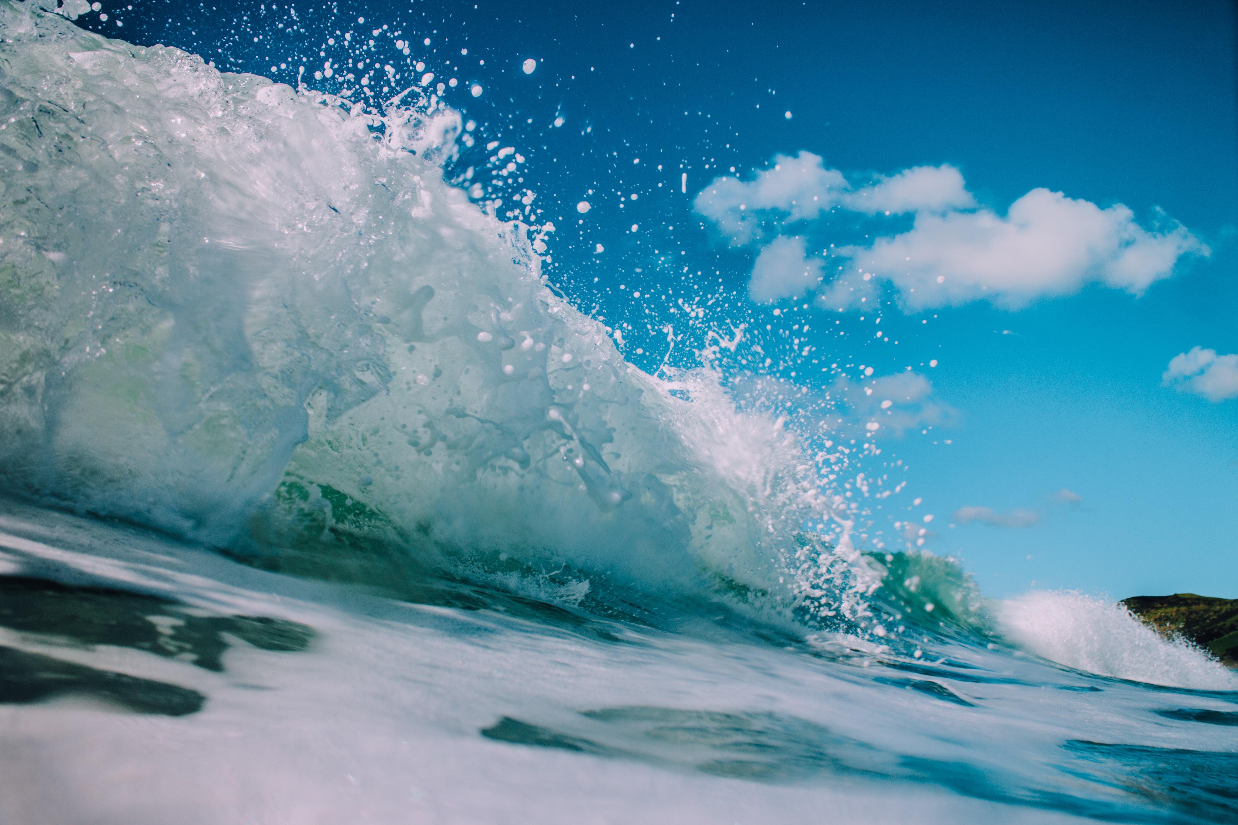 macro photography of splashing water waves